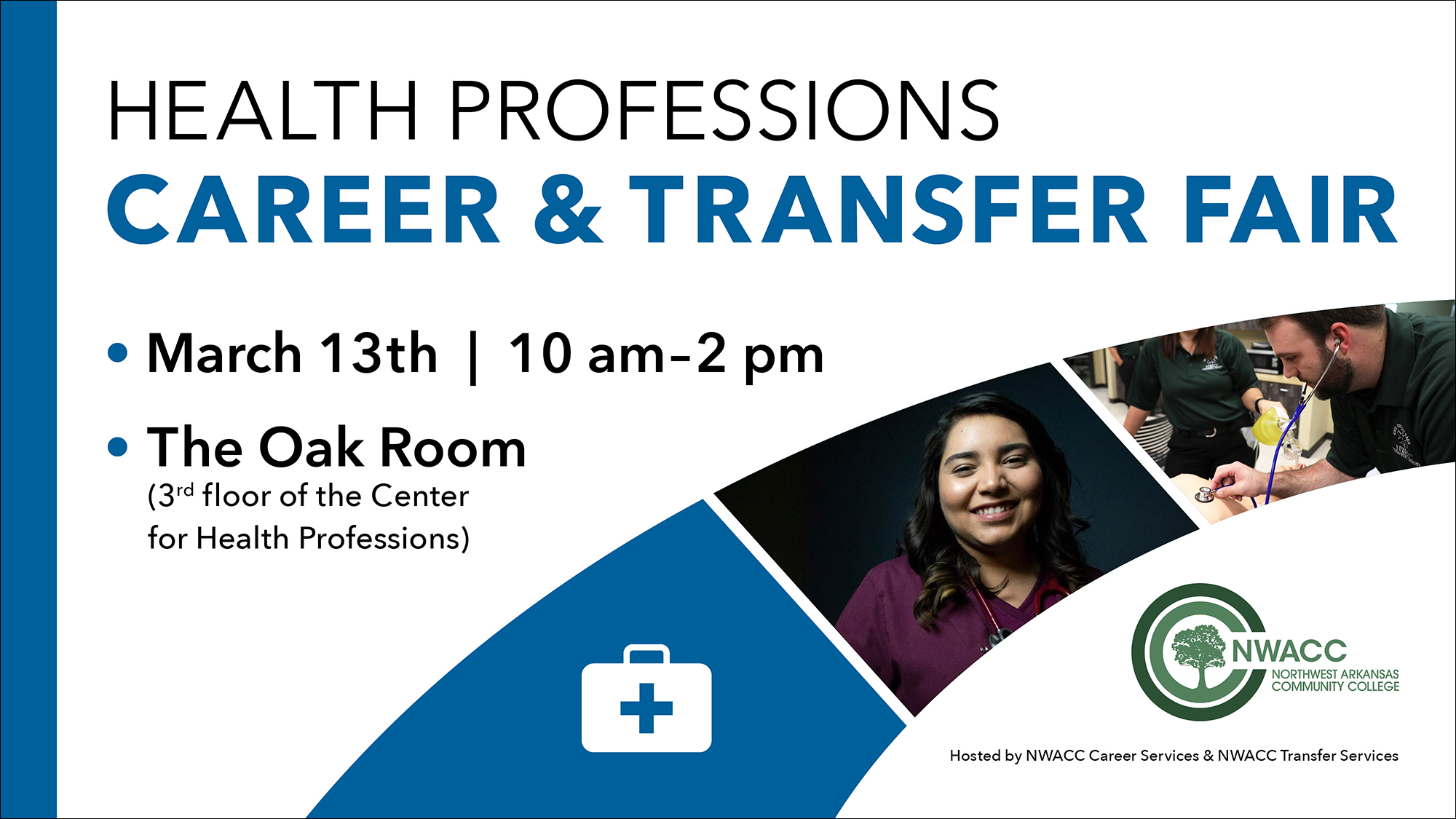 Flyer with brief event information and two photos of health professions students