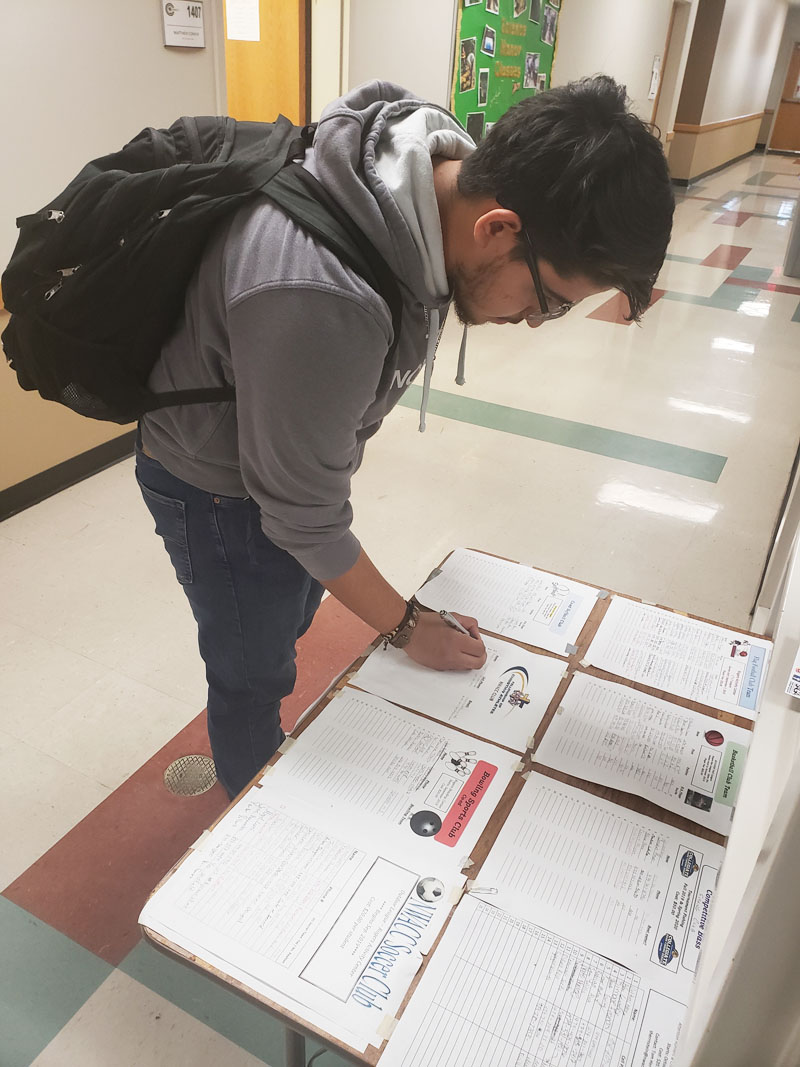 Student Signing Up for a Club Sport